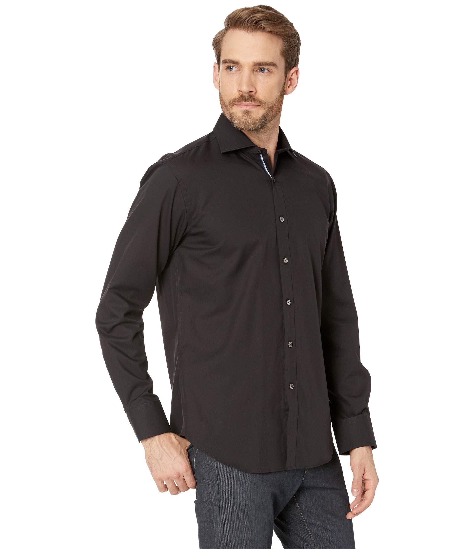 Sleeve Fit Bugatchi Long Shirt Black Shaped Woven 8zT7HTqw