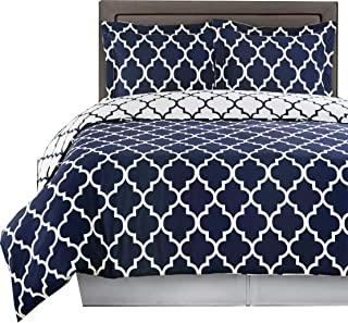 Royal Hotel Navy and White Meridian King/Cal-King 3-Piece Duvet-Cover-Set, 100% Cotton 300 TC