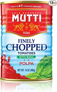 Mutti — 14 oz. 12 Pack of Finely Chopped Tomatoes with Basil from Italy's #1 Tomato Brand