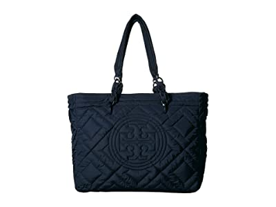 Tory Burch Fleming Quilted Nylon Tote (Royal Navy) Handbags
