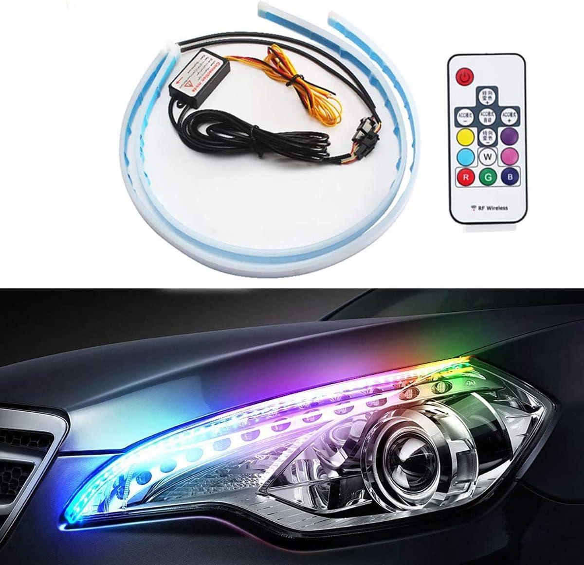 Flexible OFFicial Denver Mall site Car LED Strip Light - 2 Ligh Pcs 24 inch RGB Waterproof