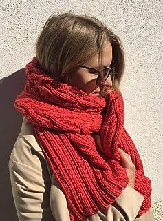 Sciarpa rossa, scialle lungo e spesso, lana morbida, double face