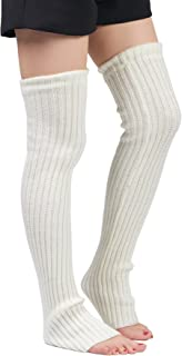Leotruny Women's Winter Over Knee High Footless Socks Knit Leg Warmers