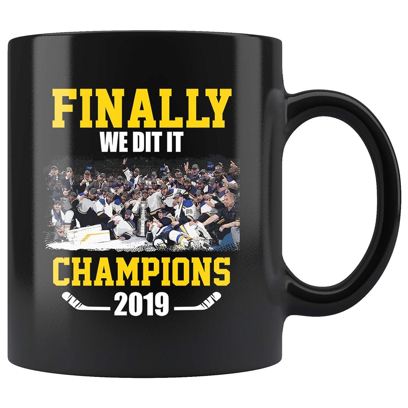 Finally We Did It Champions 2019 St. Louis Jersey Hockey Big Gift Fan Customized Handmade 11oz Black Mug
