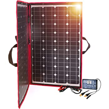 DOKIO 100W 12V Foldable Solar Panel Kit Monocrystalline with Solar Controller with 2 USB Ports Output for Caravan RV Boat Camper(Portable, HIGH-Efficiency)