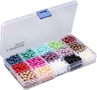 Linsoir Beads 1500 Pcs Tiny Satin Luster Faux Pearl Beads Pearl Jewelry for Women Girl Value Pack 15 Color Assorted 6mm Round Pearls