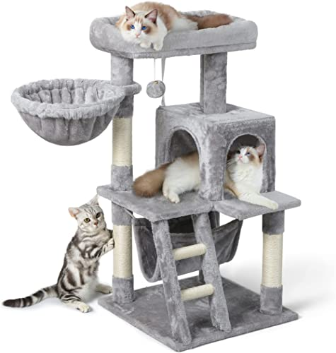 rabbitgoo Cat Tree Cat Tower 99 cm, Multi-Level Kitten Stand House Condo with Scratching Posts, Hammock & Large Plush...
