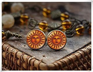 Pendientes de sol medievales, pendientes de sol estilo antiguo, estilo vintage, pendientes de renacimiento, joyería bohemia, un hermoso regalo