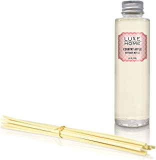 Luxe Home Country Apple Reed Diffuser Refill Oil with Sticks   Sweet-Tart Honeycrisp Apples, Crisp Limes & Anjou Pear Scented Sticks   Liquid Air Freshener   Made in The USA