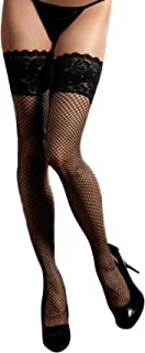 Seven Til Midnight Women's Fishnet Thigh High with Lace Top