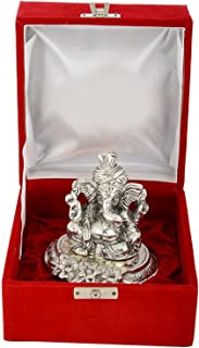 MSA Antique 999 Silver Plated Traditional Pagdi Ganesha With Velvet Box(Aluminum,Silver)