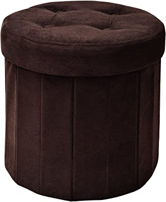 Amazon Com Fresh Home Elements Fhe 15 Round Tufted Folding Storage Ottoman 15 X 15 X 15 Brown Microsuede Fabric Easy Transformation For Extra Storage Seating And Foot Rest Family Guests Decluttering Furniture Decor