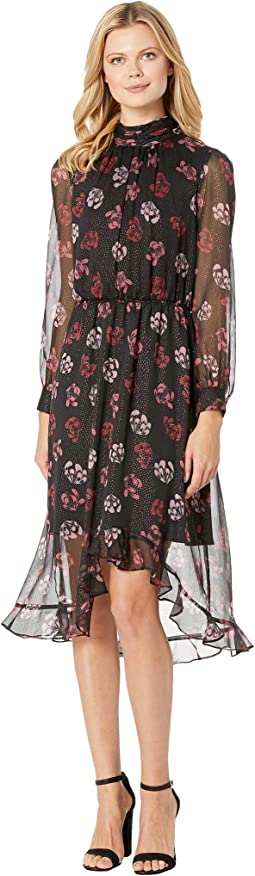Long Sleeve Regal Stamp Floral Maxi Dress