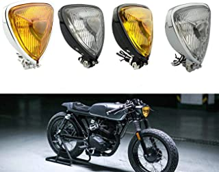 Universal Motorcycle Retro Modification Triangular Metal Headlights For Harley BMW Chopper Cafe Racer Touring Bobber Custom Motorbikes (Black Amber Lens)