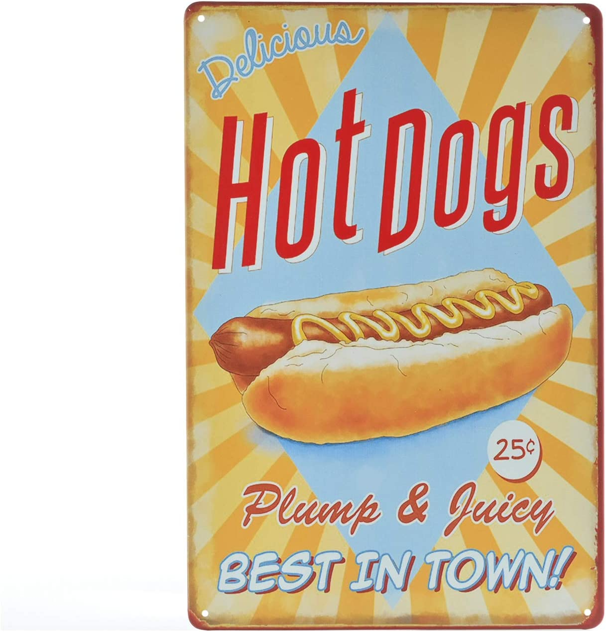 TREEPERI Vintage Metel Sign Fast Food Shop Retro Tin Decorative Sign Wall Decor Prints - Hotdogs