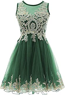 Gold Lace Beaded Short Bateau Prom Dress Homecoming Cocktail Gowns