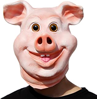 PartyHop - Happy Pig Mask - Halloween Party Funny Cute Latex Animal Head Mask