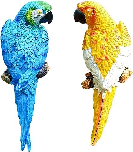 "discount Simulation Parrot Bird Sculpture Wall Hanging Ornament wholesale Handmade Resin Crafts Half Side Lifelike Sculpture Decoration lowest Garden Decor Statues Figurines, 12"" (Blue6+Yellow1) outlet sale"