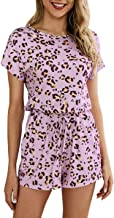 Jyccr Women Leopard Print Rompers Casual Round Neck Short Sleeve Pocket Short Jumpsuits (US10)