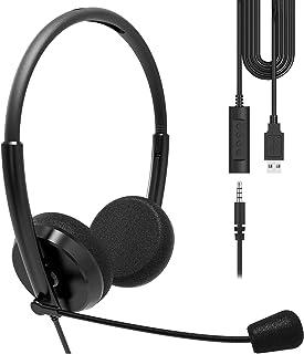 Geekria - Auriculares USB con micrófono y opción de silencio, auriculares con cable para PC, portátil, tablet, auriculares de ordenador con micrófono con cancelación de ruido, comodidad todo el día para reuniones, centro de llamadas, escuela (negro)