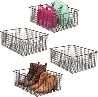 mDesign Large Farmhouse Metal Wire Storage Basket Bin Box with Handles for Organizing Closets, Shelves and Cabinets in Bedrooms, Bathrooms, Entryways and Hallways - 16