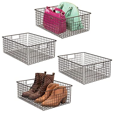 mDesign Large Farmhouse Metal Wire Storage Basket Bin Box with Handles for Organizing Closets, Shelves and Cabinets in Bedrooms, Bathrooms, Entryways and Hallways - 16  x 12  x 6  - 4 Pack - Bronze