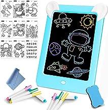 Tableta de Dibujo Pizarra 3D Mágica con Luces LED Educativo Infantil Borrable Dibujo de Graffiti Colorido Luminoso sin Papel & Marco de Fotos Regalos Juguetes para Niños(Azul)