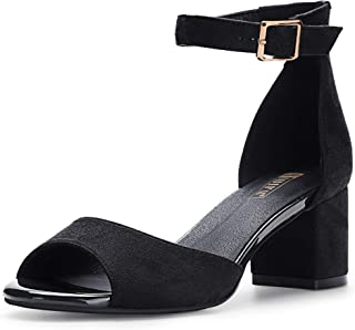 Women's IN2 Candie Low Chunky Block Heel Pump Heeled Sandals Buckle Ankle Strap Peep Toe Dress Shoes