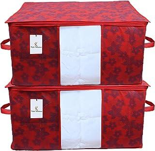 Kuber Industries Underbed Storage Bag, Storage Organiser, Blanket Cover Set of 2 - Maroon, CTKUBM26