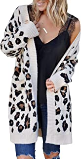 Women Leopard Cardigan Long Open Front Sweaters Loose...