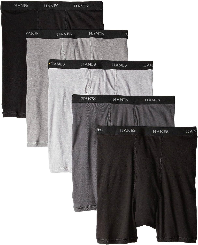 Hanes Men's Classics 5 Pack Boxer Brief, Assorted Black/Grey XXL