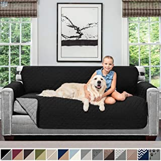 Sofa Shield Original Patent Pending Reversible Sofa Slipcover, 2 Inch Strap Hook, Seat Width Up to 70 Inch Furniture Protector, Couch Slip Cover Throw for Pets, Kids, Cats, Sofa, Black Gray