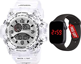 Acnos Brand - A Digital Watch with FRE Square LED Shockproof Multi-Functional Automatic 5 Color Dial White Strap Waterproo...
