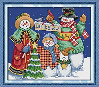 Cross Stitch Kits, Christmas Snowman Awesocrafts Easy Patterns Cross Stitching Embroidery Kit Supplies Christmas Gifts, Stamped or Counted (Snowman, Counted)