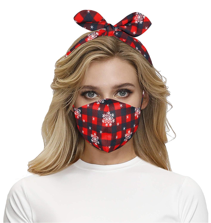 Face Masks Headband Bandana for Women Neck Gaiter Christmas Decorative Breathable Reusable Washable Facemask Cover Snow Red Lattice