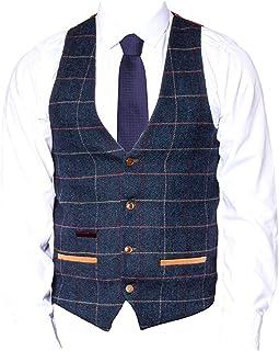 Marc Darcy Mens Vintage Wool Look Check Waistcoat Eton - Navy Blue