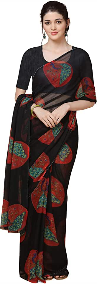 Indian Anni Designer Women's Pure Chiffon Printed Saree Saree
