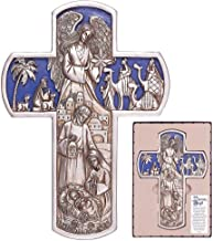 The Nativity Angel Cross Antique Silver Tone 5.5 x 11 Resin Stone Christmas Wall Sign Plaque