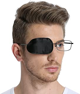 FCAROLYN Silk Eye Patch for Glasses to Treat Lazy Eye/Amblyopia / Strabismus ONE PATCH,Large,Black