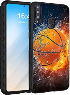 Galaxy A20S Case,AIRWEE Slim Anti-Scratch Shock Absorption Silicone TPU Back Protector Cover Case for Samsung Galaxy A20s(2019),Ice and Fire Basketball