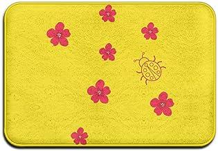 Soft Non-slip Floral Pattern Ladybug Bath Mat Coral Rug Door Mat Entrance Rug Floor Mats For Front Outside Doors Entry Car...