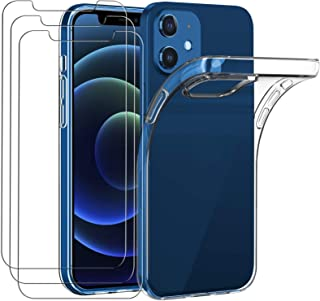 iVoler Hoesje Compatibel met iPhone 12 Mini 5.4'' +3-Pack Screen Protector Beschermfolie van Tempered Glass, Zacht,TPU Tra...