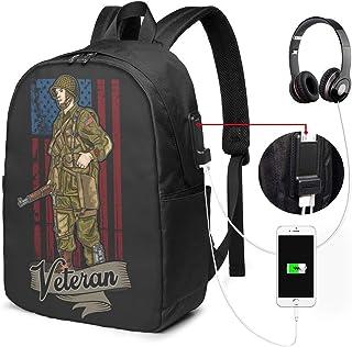 Lawenp Mochila para computadora portátil de Negocios American Army Veteran Independence Carga USB para Hombres y Mujeres de 17 Pulgadas