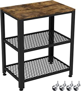 IRONCK Industrial Kitchen Cart 3-Tier, Rolling Serving Cart on Wheels with Storage, Microwave Cart for Kitchen, Wood Look Accent Furniture with Metal Frame, Vintage Brown