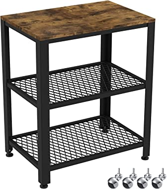 IRONCK Industrial Kitchen Cart 3-Tier, Rolling Serving Cart on Wheels with Storage, Microwave Cart for Kitchen, Wood Look Acc