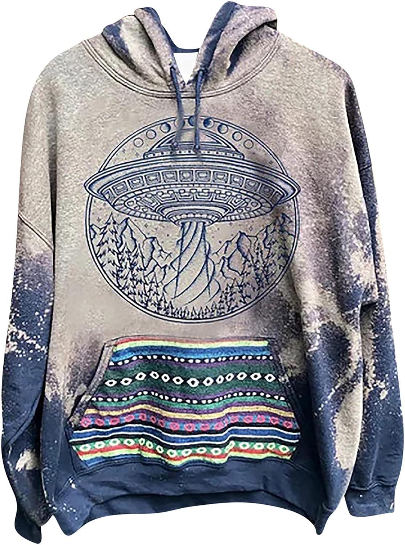 Women Long Sleeve Fall Hoodies, 2021 Fashion Sweatshirts Tie Dye Print Pullover Shirts Y2K Blouse Tops with Pockets