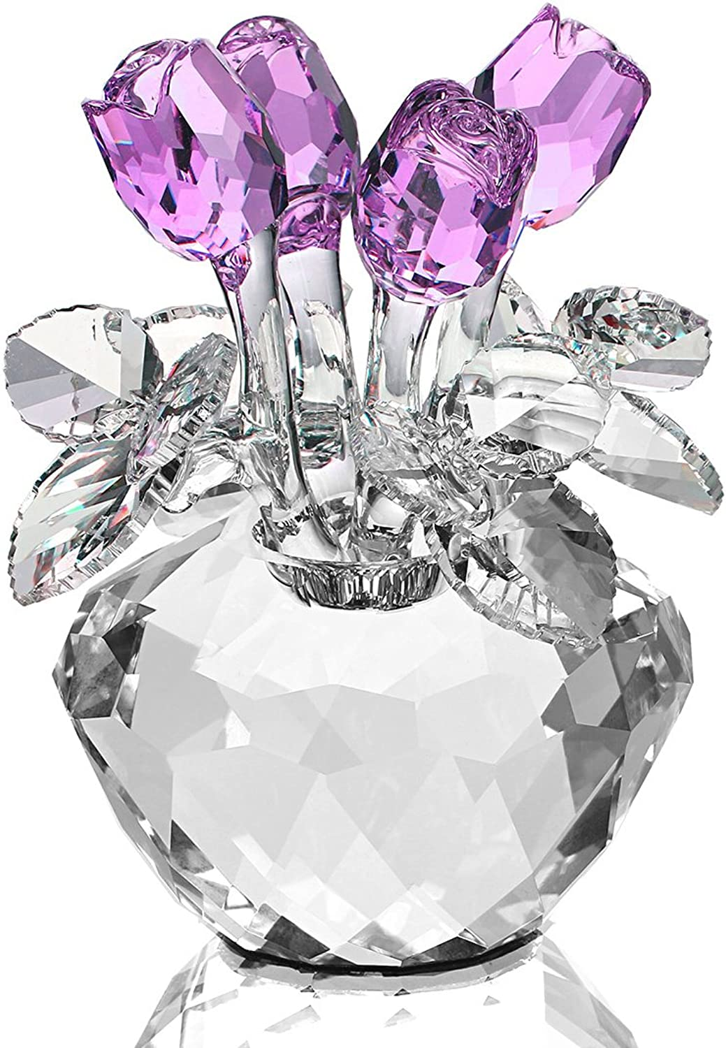 H&D Purple Crystal pink Bouquet Flowers Figurines Ornament with Gift Box