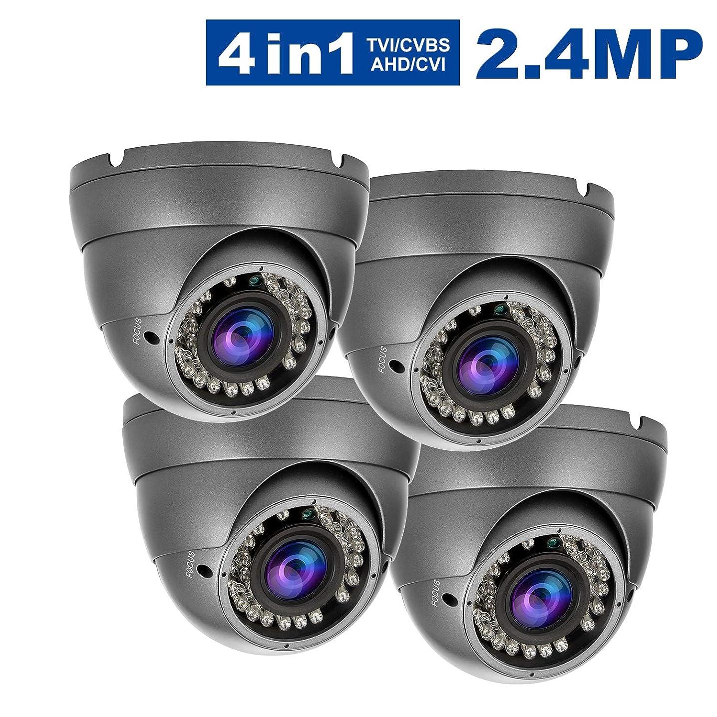 2.4MP Security Dome Camera(4Pack), Anpvees HD 1080P 4-in-1 TVI/CVI/AHD/CVBS Security Cameras, 2.8-12mm Manual Varifocal Lens Waterproof Outdoor Surveillance Camera-Grey