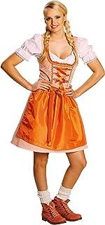 Karneval-Klamotten Karneval-Klamotten Dirndl Kostüm Damen mit Schürze lang orange weiß Oktoberfest Größe 38