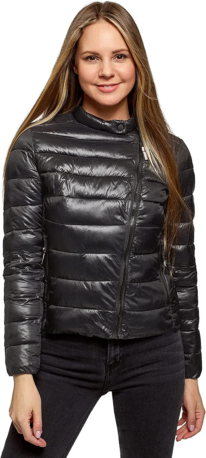oodji Ultra Women's Quilted Jacket with Asymmetrical Zipper